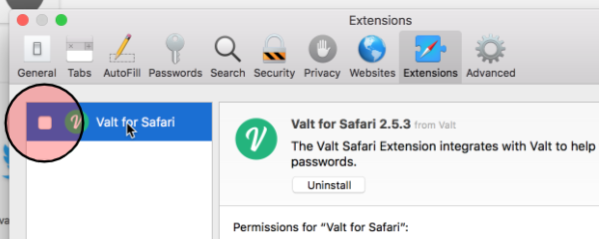 Browser extension · Valt - Making Passwords Painless
